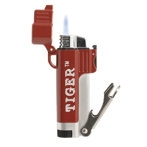 Tiger Tailgater Red and White Single Torch Lighter with Bottle Opener