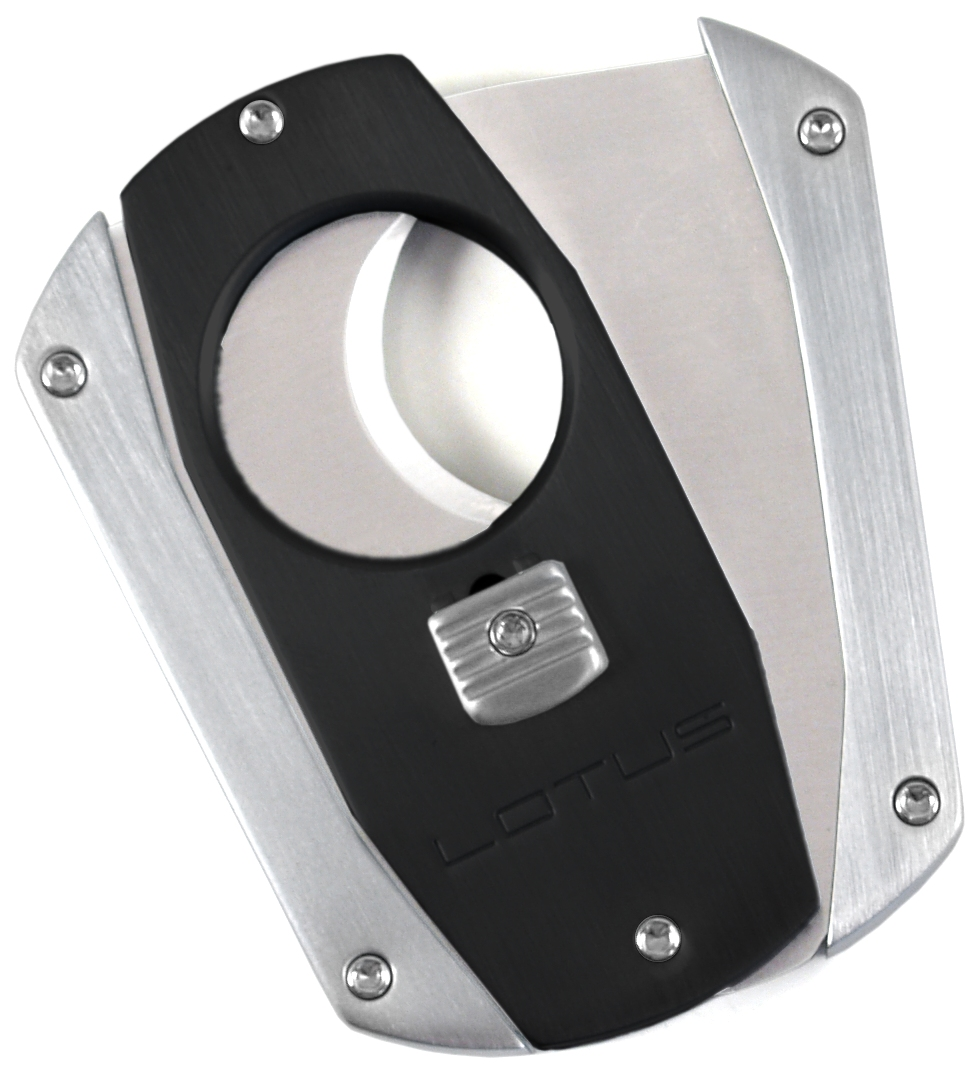 Lotus Matte Black And Silver Cigar Cutter