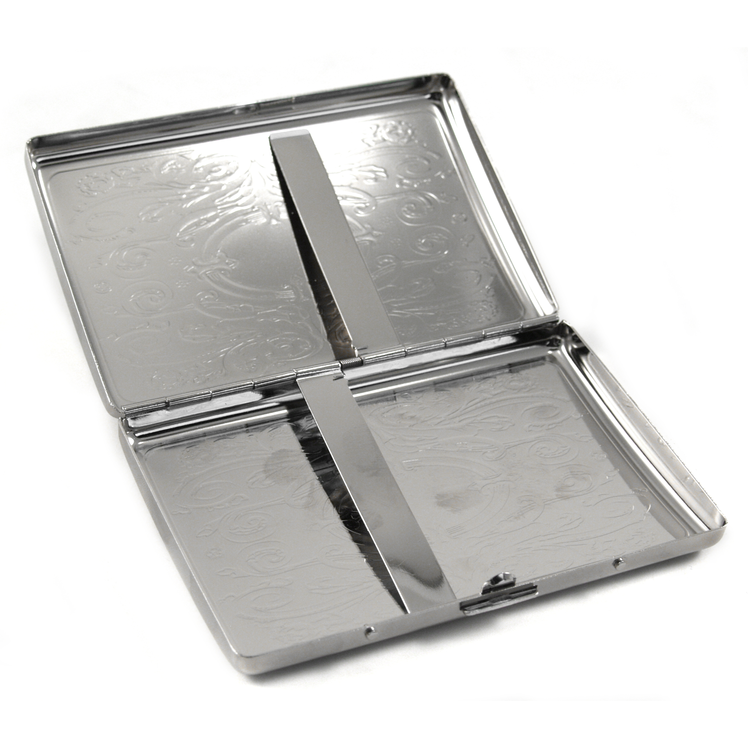 Etched Western Stainless Steel Cigarette Case
