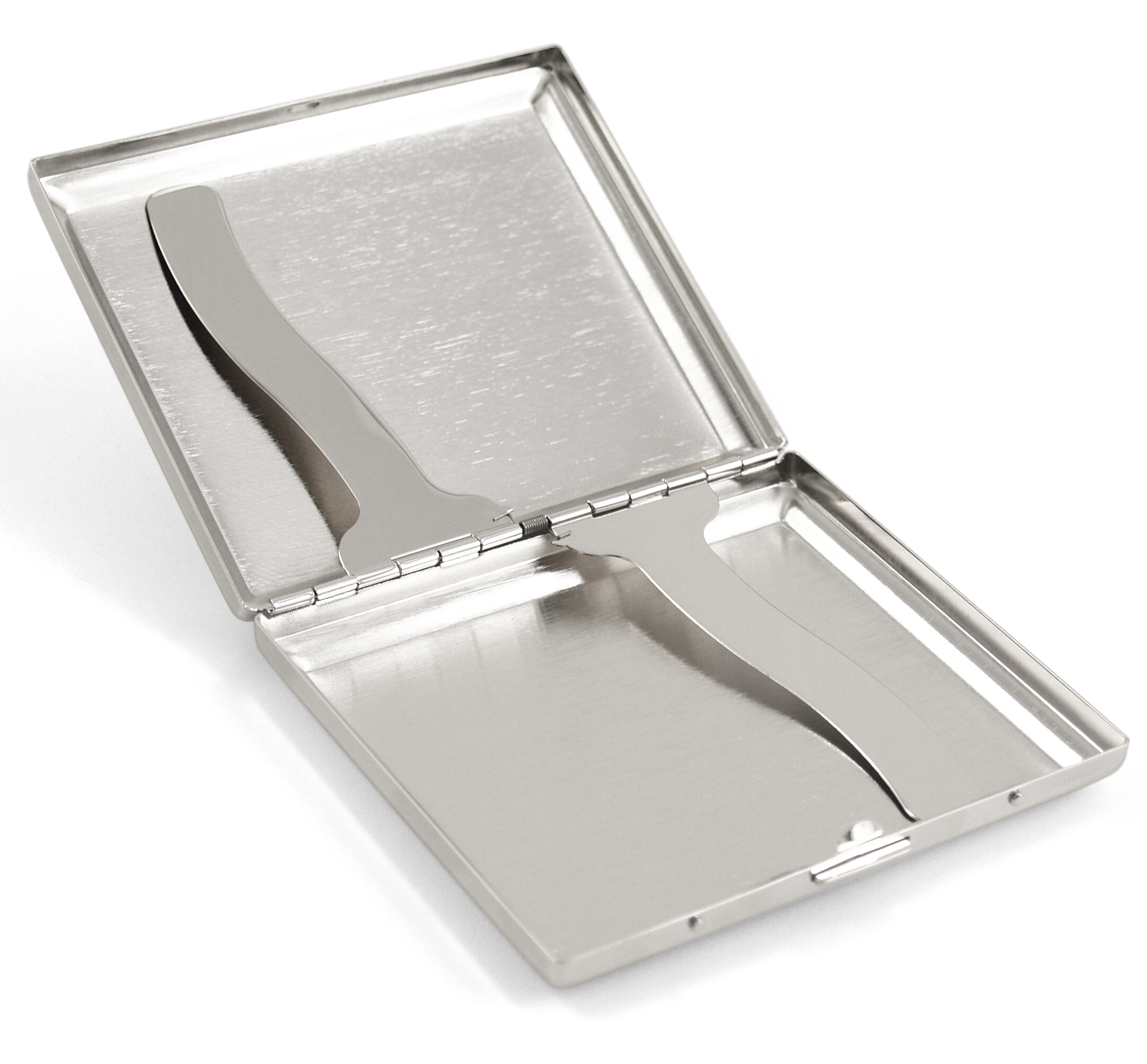 Grid Stripes Stainless Steel Cigarette Case Holder