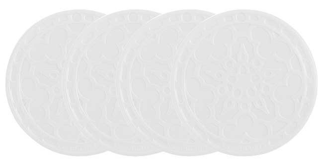Le Creuset White Silicone French Coaster, Set of 4