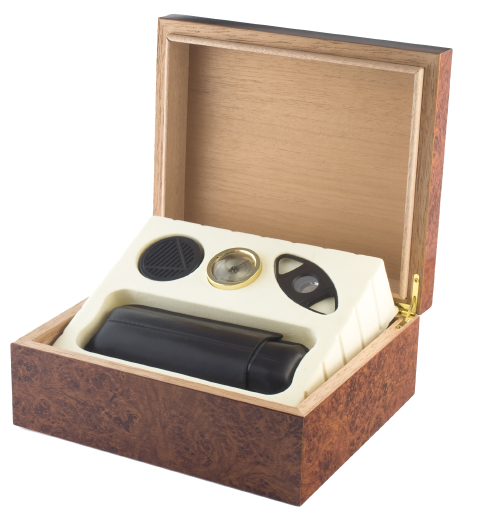 Gift Set Executive Burl 25 Count Cigar Humidor