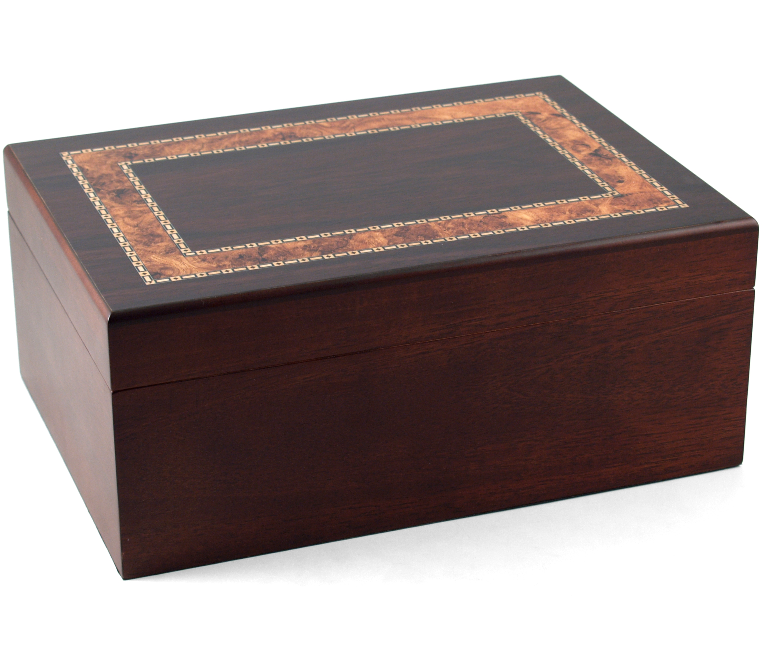 Black Walnut With Burl Inlay Cigar Humidor