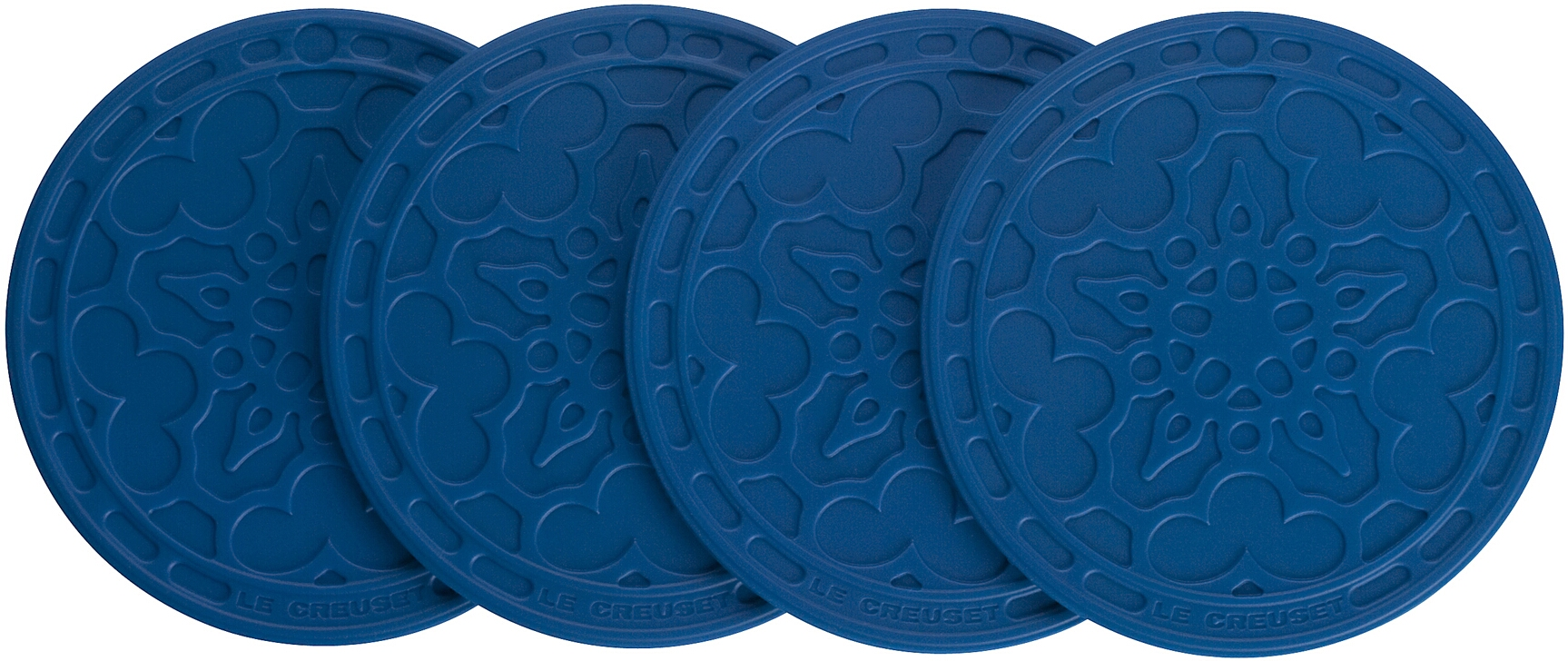 Le Creuset Marseille Blue Silicone French Coaster, Set of 4