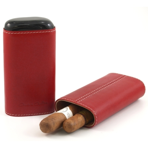 Andre Garcia Horn Collection Cognac Red Leather Cigar Case with Buffalo Horn Accent, 3 Finger