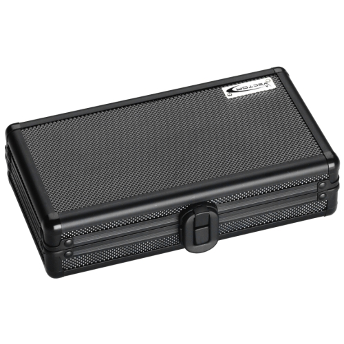 Vector Black Aluminum Rugged Travel Cigar Humidor 4 Ct