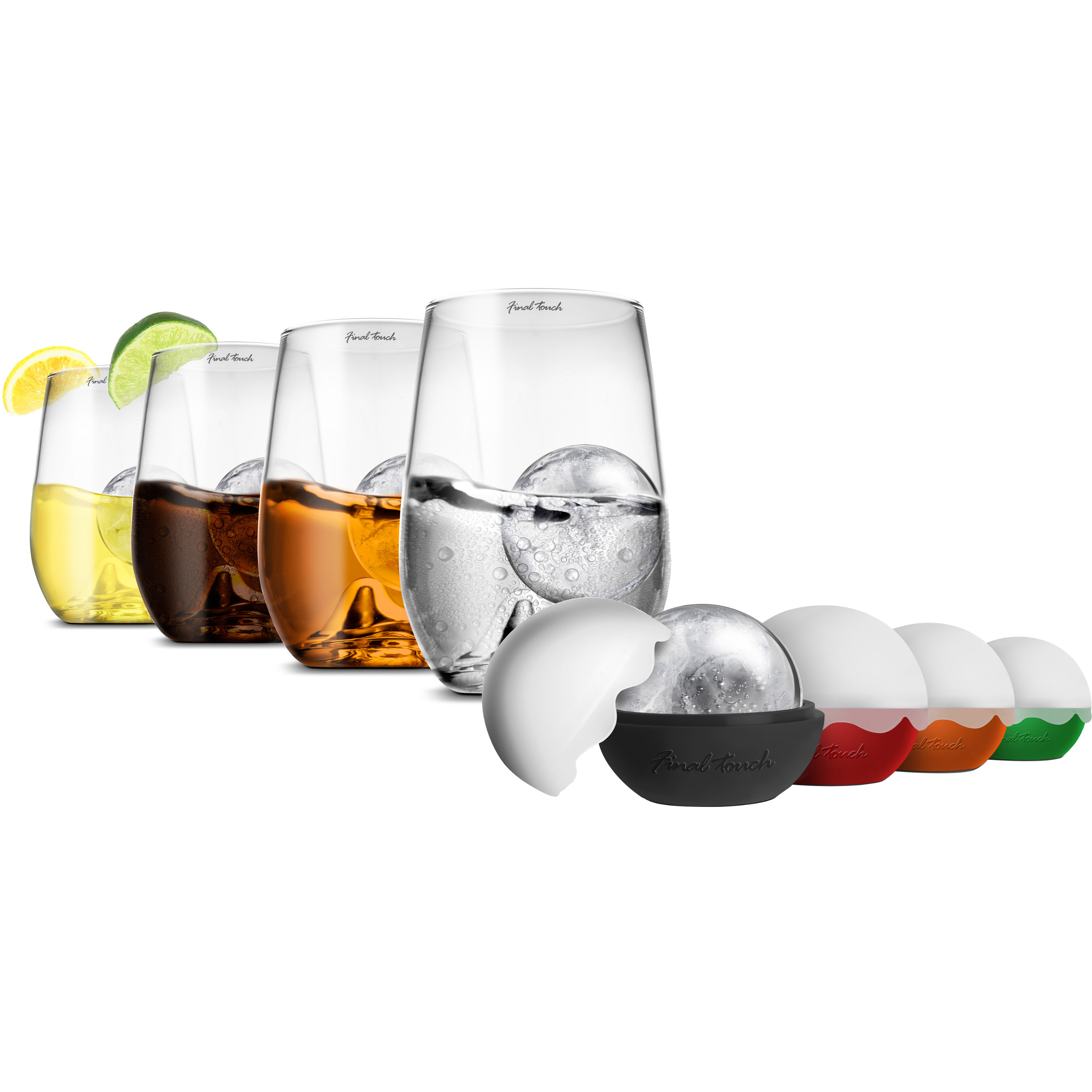 Final Touch On the Rock 8 Piece Highball Glass and IceBall Set