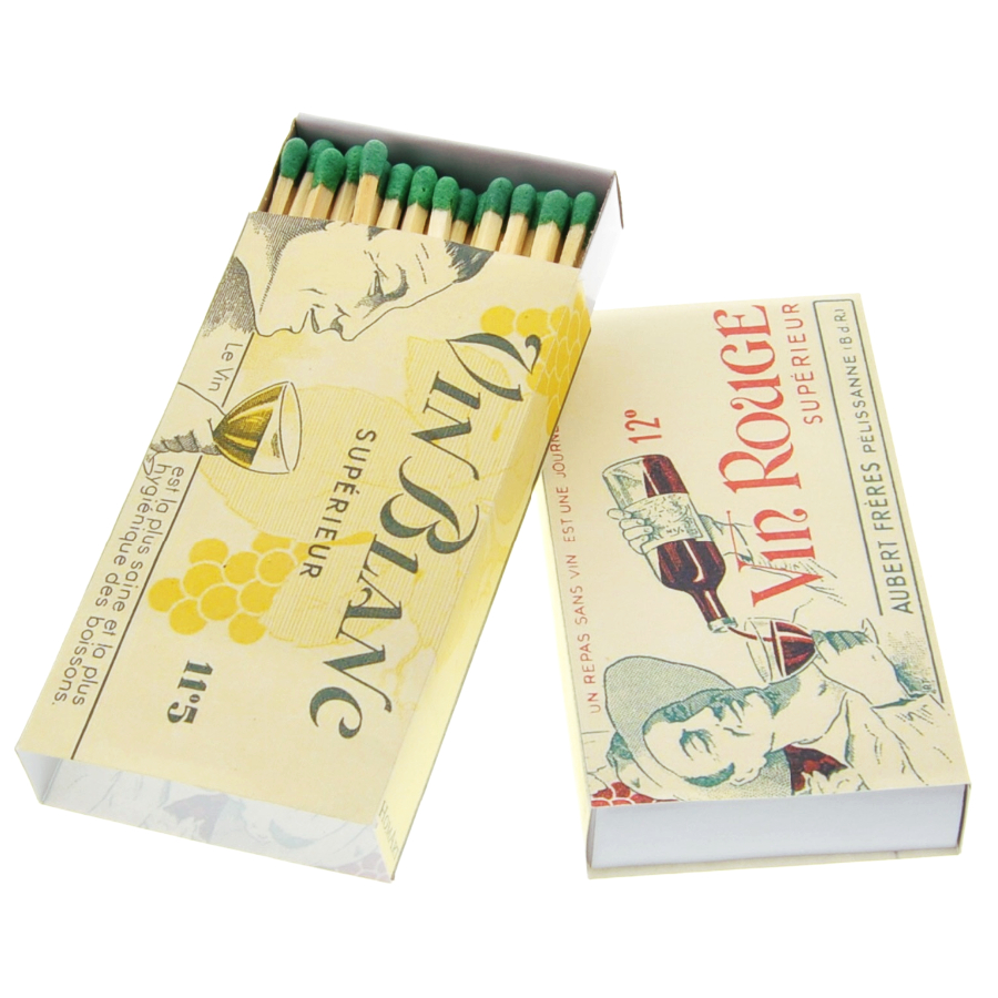 Homart Long Decorative Matches In Vin Rouge and Vin Blanc Box