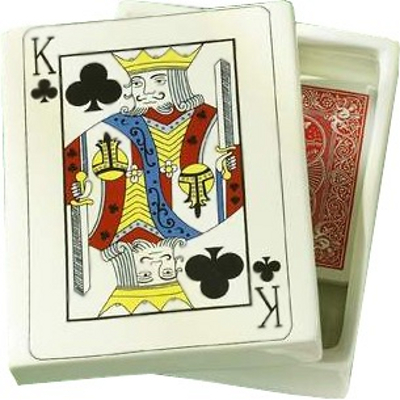 Stoneware Poker Playing Cards Storage Box,  For 2 Decks