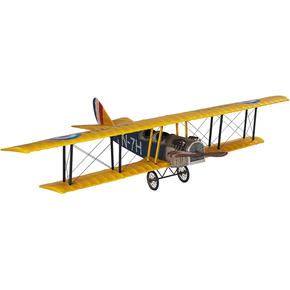Authentic Models Classic Jenny JN-7H Barnstormer Model Airplane in Yellow and Blue