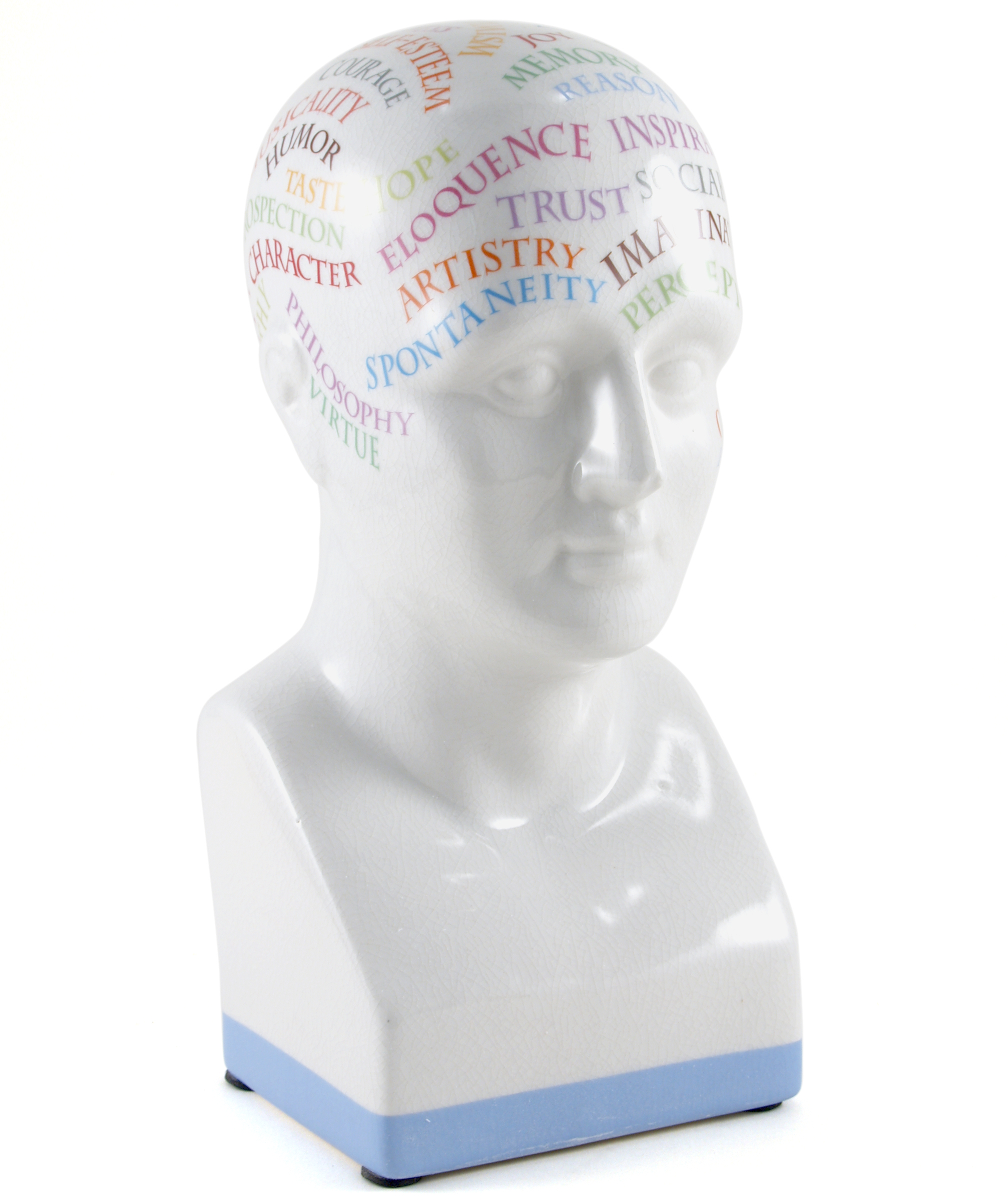 Authentic Models Cool Character Porcelain Phrenology Head Bust