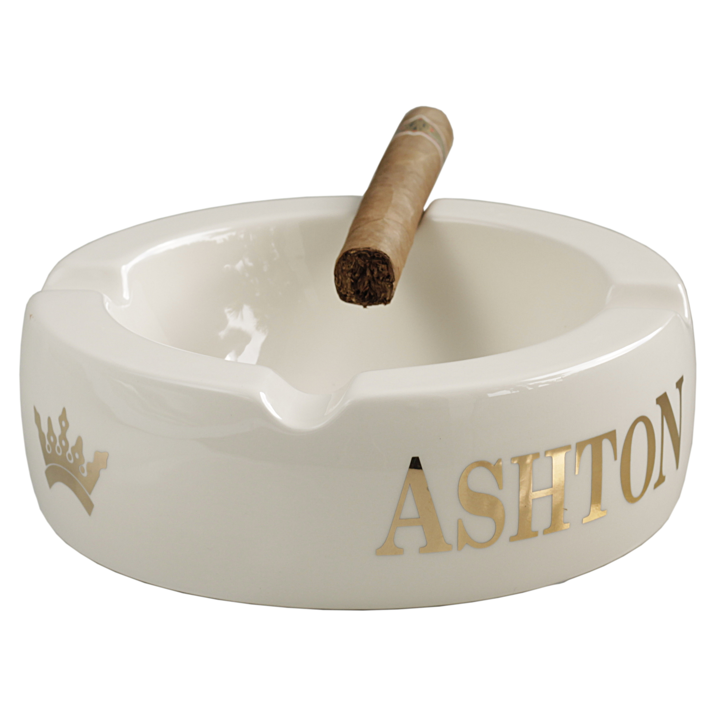 Ashton White Ceramic 4 Cigar Round Ashtray