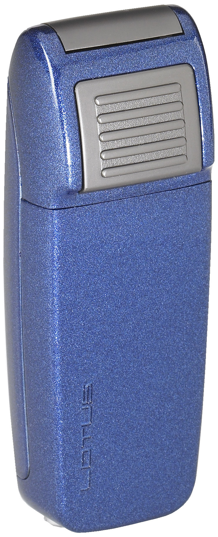 Lotus L34 Retro Double Torch Lighter with Retracable Punch Blue Metallic