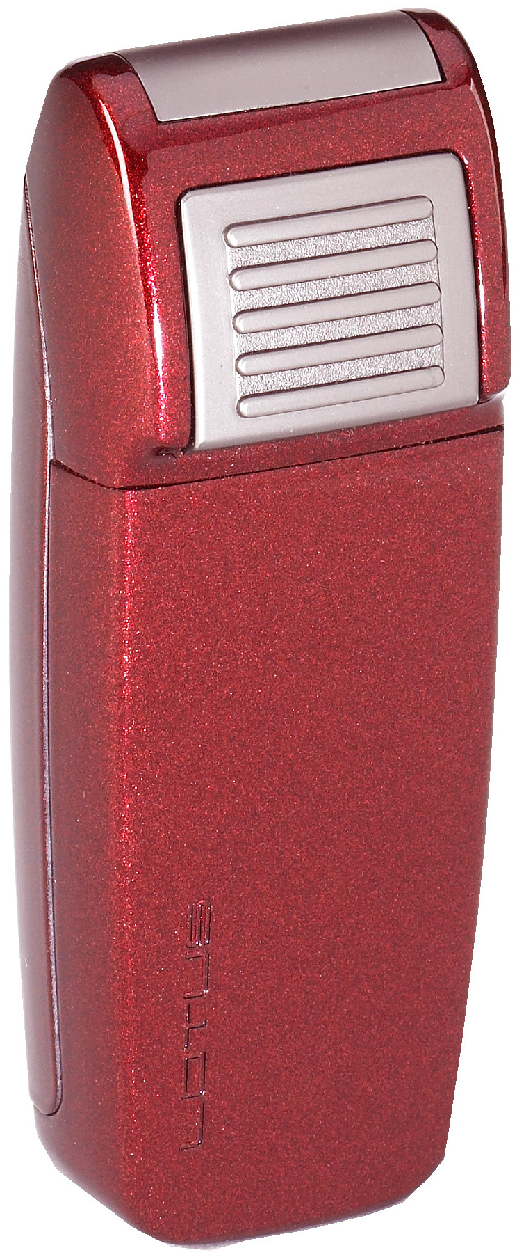 Lotus L34 Retro Double Torch Lighter with Retracable Punch Red Metallic