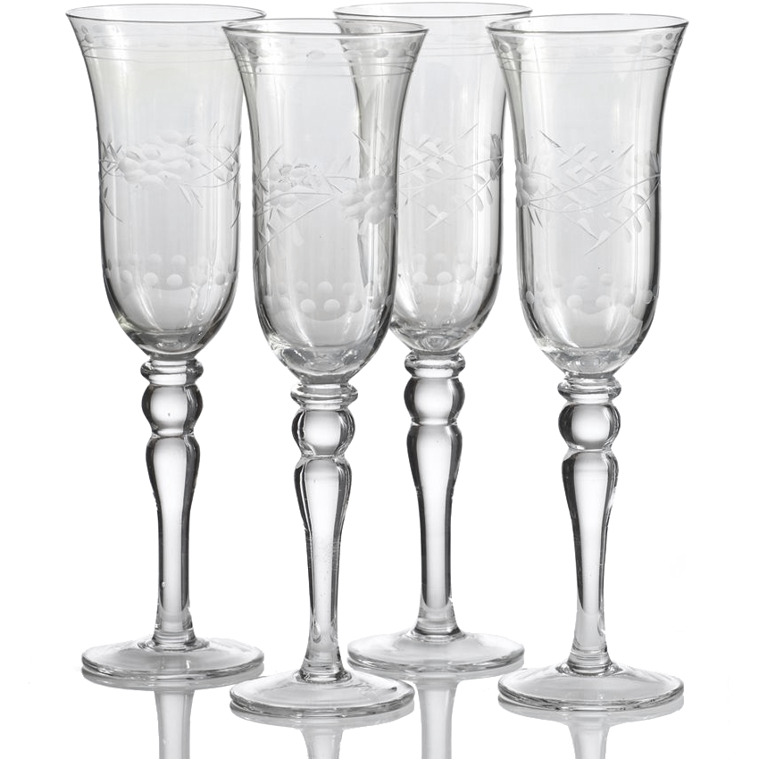 Home Essentials Green Cut Luster Vintage Style Glass, Set of 4