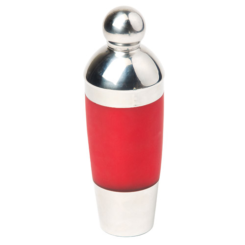 True Fabrications Red Banded Stainless Steel Cocktail Shaker, 17 Ounce