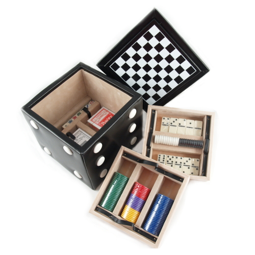Black & White Game Cube with Checkers, Poker and MoreGame