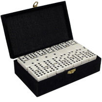 Double Nine White Tournament Dominos in Luxurious Velvet Case
