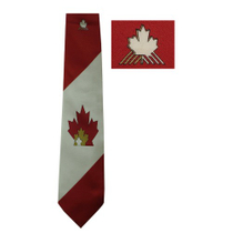 Handmade Canadian Flag White Red Maple Leaf Tie