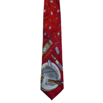 Hand Crafted Red Cigar Themed Necktie