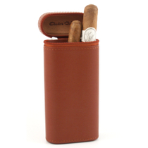 Andre Garcia Cognac Brown Italian Leather Cedar-Lined Zippered 3 Finger Cigar Case