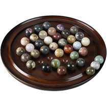 Authentic Models Semi-Precious Stone Marbles Solitaire Di Venezia Game with Brown Hardwood Board