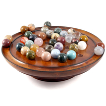 Authentic Models Semi-Precious Marbles Solitaire Game with Hardwood Board