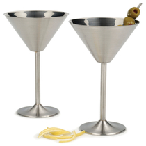 Stainless Steel Martini Glasses 2 Piece Set