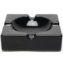 Oversized Hi-Gloss Black Ceramic Square Cigar Ashtray