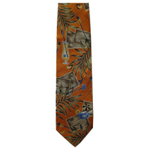Handmade 100% Silk Orange Tropical Cocktails Tie