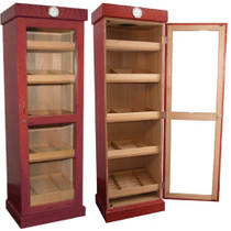 Cherry Cigar Humidor Tower with Shelves, Holds 3000 Cigars