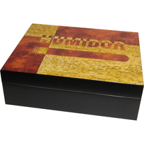 Monteray Tri-Tone Laquered Burl Cigar Humidor 60ct NEW