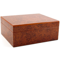Burl Cigar Humidor with Hygrometer and Humidifier, 50 Count