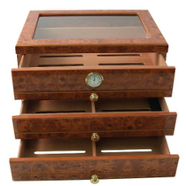 Burl Window Top 3 Drawer 75+ CT Cigar Humidor