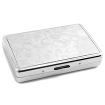 Chrome & Silver Peacock Swirls Cigarette Case 100's