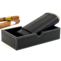 Andre Garcia Horn Collection Black Crocodile Embossed Leather Cedar-Lined Telescopic 3 Finger Cigar Case with Buffalo Horn Accent and Bonus Valet Box