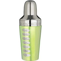 Trudeau Spectra Green Stainless Steel Recipe Cocktail Shaker