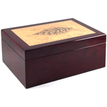 Hi Gloss Tobacco Leaf Inlay Amazing Burl Cigar Humidor - Minor Scratch N' Dent