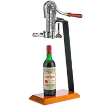 Wine Enthusiast Legacy Antique Pewter Corkscrew Bottle Opener with Birch Stand