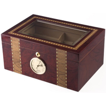 INCREDIBLE INLAY GLASS TOP Lockable 100ct Cigar Humidor
