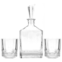 Nachtmann Aspen 3 Piece Bavarian Crystal Whiskey Decanter Set