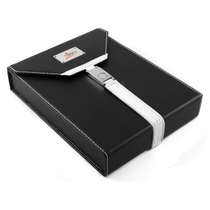 NIBO Black & White Leather 7 Count Travel Cigar Humidor
