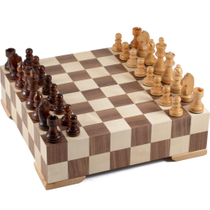 Gatogi Wooden Dual Level Chess Set