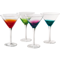 Artland Fizzy Assorted Color Martini Bar Glass, Set of 4