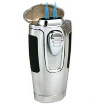 Nibo Supra Brushed Silver Cigar Lighter Double Torch