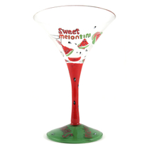 Home Essentials Hand Painted Sweet Melontini Martini Glass, Set of 2