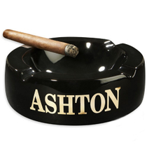 Ashton Black Ceramic 4 Cigar Round Ashtray