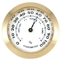 Small #2 Round Brass Analog Hygrometer Humidity Gauge Humidor