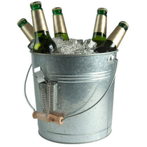 Artland Oasis Distressed Galvanized Steel Beverage Pail and Bottle Opener