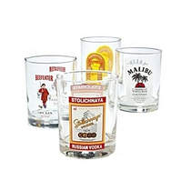 Highball Bar Glasses Stoli Kahlua Beefeater Malibu 4 Piece Set